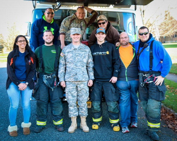 Members of 98 Fire give Jack Donnelly a special homecoming from basic training on Friday NOvember 20, 2015. Photo by DAVE DABOUR
