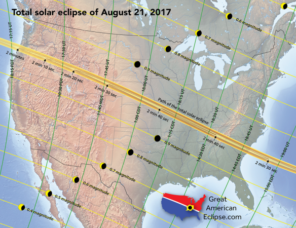 Path of solar eclipse across the US on August 21, 2017