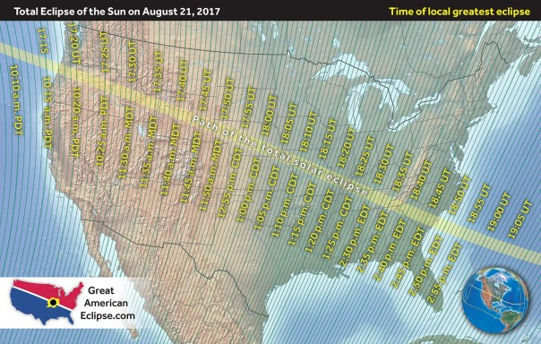 Time of total eclipse across US on August 21, 2017